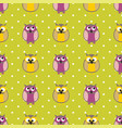 tile pattern with owls and polka dots on green bac vector image vector image