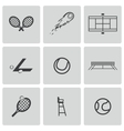 black tennis icons set vector image vector image
