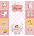 new baby girl announcement card with little girl vector image
