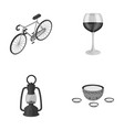 a bicycle a glass of wine and other monochrome vector image