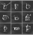 Hand drawn coffee icon set vector image