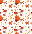Seamless fox and leaves vector image
