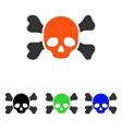 skull and bones flat icon vector image