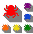 spider sign set of red orange vector image