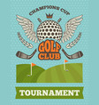 vintage poster for golf tournament vector image
