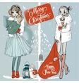 christmas sketchy girls vector image