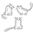 set of cute cartoon cat in various poses vector image