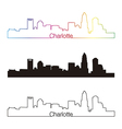 Charlotte skyline linear style with rainbow vector image