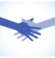Blue icon hand shake for business and finance vector image