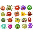 Cartoon bacteria collection set vector image