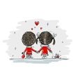 Couple in love together christmas vector image