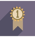 Flat web icon with long shadow medal winner vector image