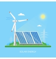 Solar panels power plant and factory Green energy vector image
