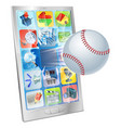 baseball ball flying out of cell phone vector image