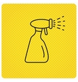 Cleaning spray bottle icon Washing tool sign vector image