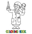 coloring book of funny chemist or scientist vector image