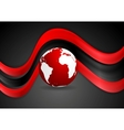 Graphic wavy design with globe vector image