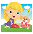 of a little girl playing with vector image