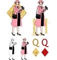 Queen of diamonds asian woman photographer Mafia vector image