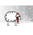 Sheep santa in forest symbol of new year 2015 vector image