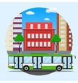 green city busin front of houses vector image