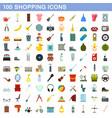 100 shopping icons set flat style vector image