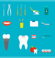 flat health care dentist medical tools medicine vector image