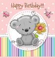 greeting card cute teddy bear vector image