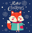 Christmas fox design vector image vector image