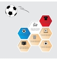 Honeycomb with football flat icons vector image