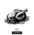 Chicken Vintage fast food hand drawn sketch vector image