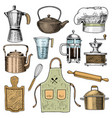 coffee maker or grinder french press rolling pin vector image