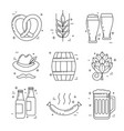 octoberfest thin line icons beer festival vector image