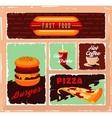 Vintage fast food banner set vector image