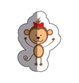color sticker with monkey with red bow and middle vector image vector image