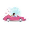Car woman in pink convertible with shopping bags vector image vector image