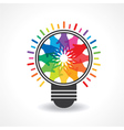 colorful hands make a light -bulb vector image