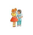 flat female doctor and girl kid scene vector image
