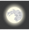 Full moon on the dark transparent background vector image