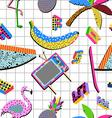 Retro 80s summer pattern background vector image