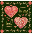 Set of two hand drawn hearts with floral frame vector image