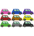 small cars in nine colors vector image