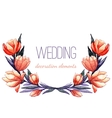 Watercolor tulips wreath for wedding decor vector image