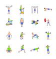 gym icons set cartoon vector image