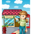 A girl presenting the flower shop vector image