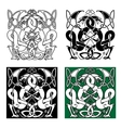 Dragons entwined in traditional celtic ornaments vector image vector image