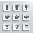 Cup of coffee web icons set in black and white vector image