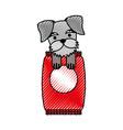 Cute dog mascot with bag food vector image