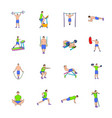 gym icons set cartoon vector image