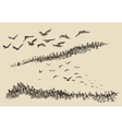 Hand drawn landscape flying birds forest vintage vector image